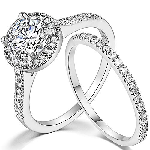Jude Jewelers Silver Rose Gold 1.0 Carat Wedding Engaement Eternity Bridal Solitaire Ring Set (Silver, 6.5)