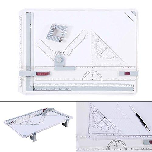 Zerone A3Zeichenbrett, A3Zeichenbrett Tisch Box Pad Set Multi-Funktion Magnetverschluss Klemmleiste mit Parallelführung und Winkel einstellbar Herrscher