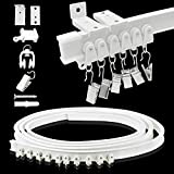 Ceiling Curtain Track, Curtain Track Ceiling Wall Mount – Two Ways To Install, 5 Meters/ 16.4 Ft Curtain Track Room Divider Flexible Sliding Curved Rv Curtain Track System Track Hooks for Bay Window