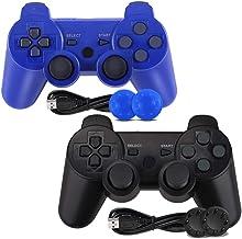 کنترلر PS3 ، بلوتوث بی سیم Gamepad Double Vibration شش محور جوی استیک از راه دور برای Playstation 3 با سیم شارژ (2-بسته)