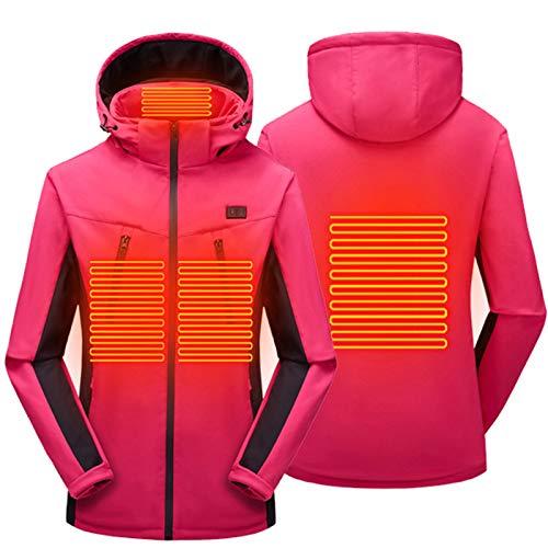 DNJKH Chaqueta Calefacción para Mujer Talla Grande Calefacción Ropa con 3 Temperaturas y Calefacción de 4 Zonas,Rosado,XL