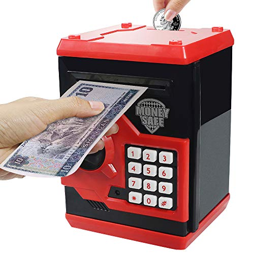 Samate Cartoon Electronic ATM Password Piggy Banks New Great Gift Toy for Children Kids Can Auto Scroll Paper Money for Children Fun Toy (Red)