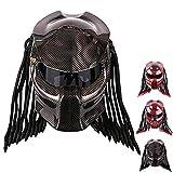 Wwtoukui Casque De Moto en Fibre De Carbone Predator,Casque De Moto Alien Warrior,Casque Intégral avec des Lumières LED,Casque Certifié Dot/ECE,B,XXL