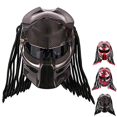 Wwtoukui Predator Motorrad Kohlefaserhelm,Alien Warrior Motorradhelm,Integralhelm Mit LED-Leuchten,DOT/ECE Zertifizierter Helm,B,M