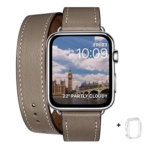 WFEAGL コンパチブル Apple Watch バンド, は本革を使い, iwatch series 6/5/4/3/2/1,SE レザー製,Sport/Edition 向けのバンド交換ストラップです コンパチブル アップルウォッチ バンド(38mm 40mm, 二重巻き型 キャメルブラウン+シルバー アダプター)