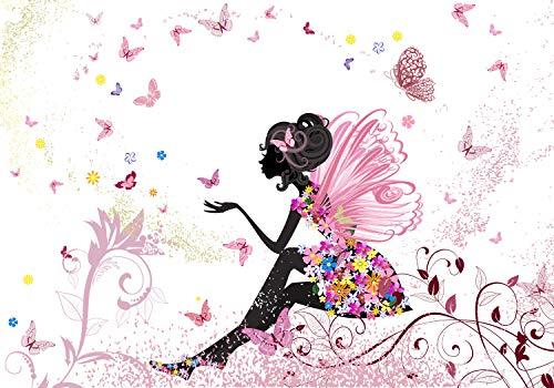 wandmotiv24 Fototapete Kinderzimmer Schmetterlingselfe XL 350 x 245 cm - 7 Teile Fototapeten, Wandbild, Motivtapeten, Vlies-Tapeten Elfe,Schmetterling, Blumen, Rosa M0438