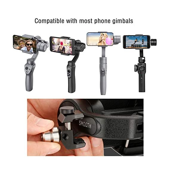 Universal 100g gimbal counterweight for balancing moment lens/phone case cover for zhiyun smooth 4 dji osmo mobile 2… 3 ►material: cnc made counterweights,anti-rust and durable to use. ►easy on easy off: 15mm-25mm universal mount can let you freely add flash, mic or other accessories but still balancing ►useage: enables you to add phone case or mobile lens setup on smartphone when use with gimbal.