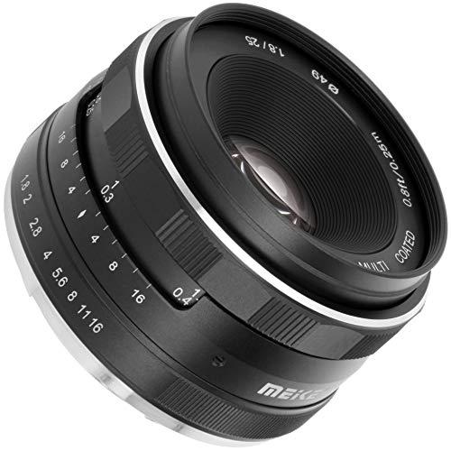 Meike - Objetivo gran angular compatible con cámaras Canon M, distancia focal de 25 mm y apertura F1.8