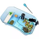 Binano 3 Piece,Turtle Tank+Plastic Flower+Dirt Absorber,Turtle kit,Pet Turtle Tanks,Tank for Turtles, Reptile Habitat,Turtle Habitat, Plastic, Safe, Non-Toxic, Durable,Blue