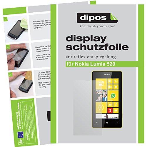 dipos I 2X Schutzfolie matt kompatibel mit Nokia Lumia 520 Folie Displayschutzfolie