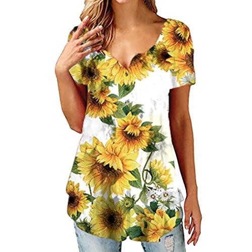 Blusa Informal de Mujer con Cuello en V y Botones de túnica Tops Camisas Volantes Túnica con Botones Sueltos Tops de Manga Corta Nudo Twist Front Tops Florales Camiseta Suelta de Verano Blusas Túnica