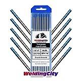 WeldingCity 10-pk Premium TIG Welding Tungsten Electrode Rod 2.0% Lanthanated (Blue, EWLa20) 1/8' x 7' | 10-pcs