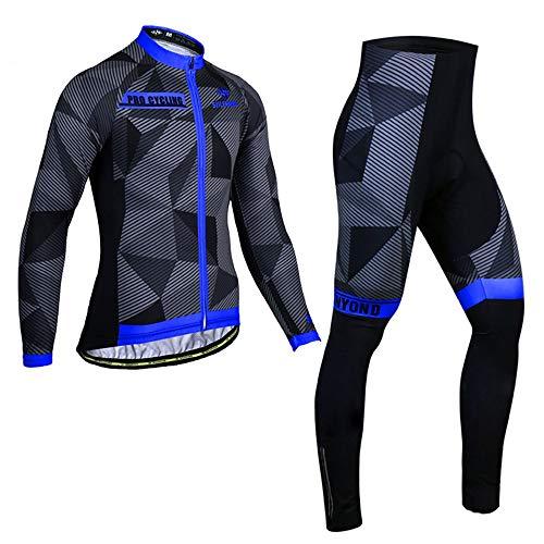 PGone Homme à Manches Longues Vêtements de vélo Ensemble de vélos d'hiver Jersey de vélo en Plein air Costumes Shadow Motif Bleu Classic Riding Usure (Size : XX-Large)
