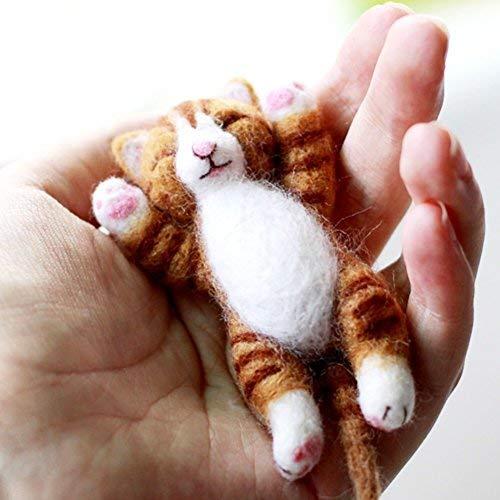 "Artec360 Lazy Cat Needle Felting Kits Lying in Hand - Needles, Finger Guards, Black High-Density Foam Mat, Instructions 3.2"""