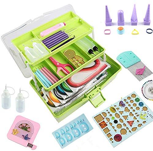Papier-Quilling-Set, Quilling-Werkzeuge, Papier-Quilling-Set mit Aufbewahrungsbox (grüne Box)
