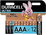 Duracell - Ultra AAA con Powerchek, Pilas Alcalinas, paquete de 12, 1.5 Voltios LR03 MN2400