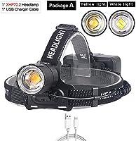 新しいLEDヘッドランプ懐中電灯、100000LM XHP70.2 LEDプロジェクターXHP70より強力な黄色または白LEDヘッドライトズームキャンプ釣り懐中電灯3 18650バッテリー、A、YellowLight3000K、サイズ:Whitelight6000K、色:F (Color : A, Size : Yellowlight3000k)