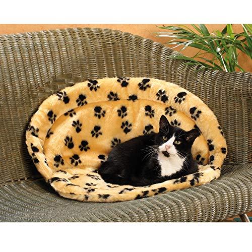 CLEVERCAT Teddy Sofaliege pfötchen beige. Der kuschelige Schlafplatz für Ihren Stubentiger