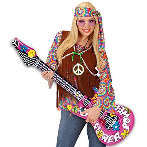 Guitare gonflable décorative hippie 105 cm Guitare à gonfler rocker guitare en plastique Rockstar instrument musique soirée costumée accessoire décoration d'ambiance