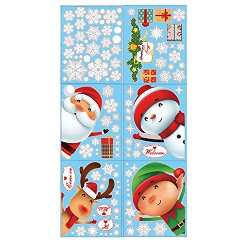 Fleymu Adhesivos Estática Navidad Etiqueta PVC Pegatinas Copos Monigote Nieve Ornamento Pared Vidrio Engomada Papá Noel DIY...