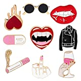 JLJ Enamel Pin Set Punk Cute Brooches for Party Vampire Skull Witch for Costume Decoration...