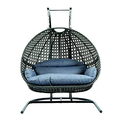 Doppelter Patio-Schaukelstuhl Patio-Lounge-Stuhl im Freien, mit Ständer und Sockel aus Stahl, komplettes Set, einschließlich eines Doppelsitzes aus UV-bewertetem und wasserdichtem Nylon-Stoffkissen