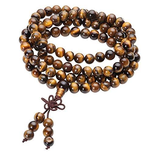 HLH Oración Reiki curativo Pulsera con Cuentas Natural Tigre Ojo Piedra 108 Perlas Pulsera Collar Yoga Buda Pulseras Joyería (Main Stone Color : Tiger Eye Stone, Metal Color : 8MM Beads)