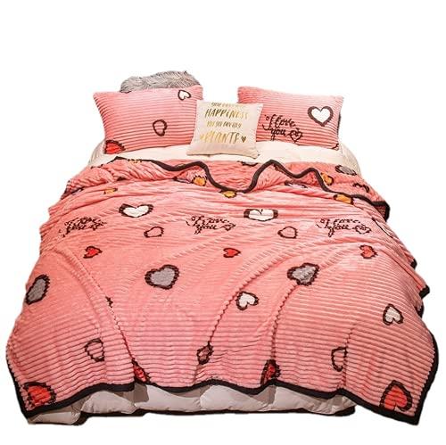 QIUBD Manta De Franela A Rayas - Manta para Cama Reversible De 100% Microfibre Extra Suave - Aire Acondicionado De Oficina Mantas De Sofá Cama para (Love Pink,150 x 200 cm)