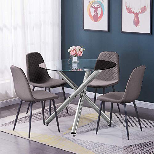 BonChoice 5Pcs Grey Dining Set Round Glass Dining Table+4Pcs Dining Chairs for Dining Room Kitchen, Velvet Fabric Side Chairs with Metal Legs Padded Seat