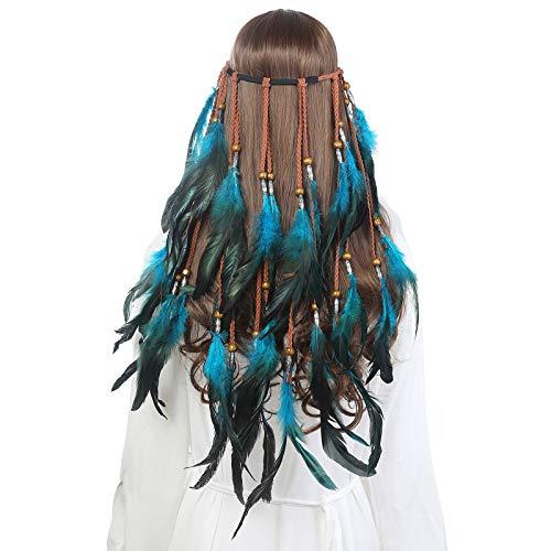 AWAYTR Feder Kopfschmuck Boho Hippie Stirnband - Fancy Federschmuck Böhmische Kopfbedeckung Quaste für Damen Mädchen Karneval Kopfschmuck, Blau, Einheitsgröße