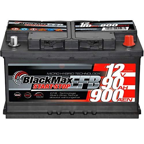 Autobatterie Start-Stop EFB 12V 90Ah 900A BlackMax Starterbatterie statt 65Ah 70Ah 75Ah
