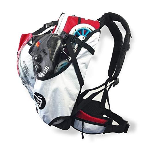 CADOMOTUS Airflow Sportrucksack 30+15L - Fahrrad Rucksack - MTB Rucksack - Inline Skater Rucksack Erwachsene - Ultraleicht und mit Rückenbelüftung, Helmfach und Schuhfach - Rot