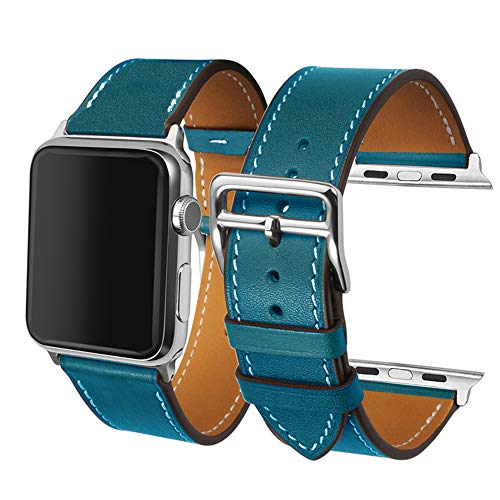 CAILIN Compatible Bands Replacement for IWatch 42mm Series 1 Series 2 Series 3,Luxury Genuine Leather Smart Watch Band Strap Single Tour Replacement 42mm