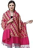 Exotic India Amritsar - Estola bordado diagonal floral Ari - Rosa - Talla única