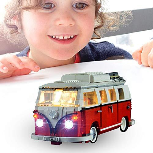 WUSHUN Juego de luces LED para caravana (Volkswagen T1, furgoneta), actualizado para Lego 10220 Volkswagen T1 autocaravana, compatible con piezas de construcción Lego 10220