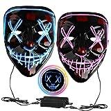 2 PCS Halloween LED Mask Light Up Mask Scary Mask LED Purge Cosplay Mask