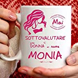 Taza Monia divertida apta para desayuno, té, tisana, café o capuchino. Taza personalizada: nunca subestimar a una mujer de nomeMonia. También como idea de regalo original y simpática