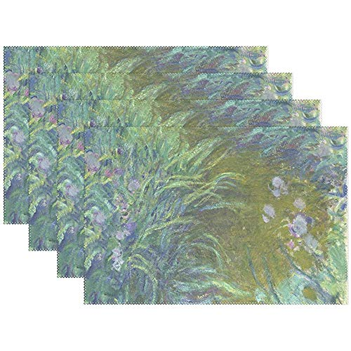 Set de Table Set de 6, Iris Monet Art Oil Paintings vacances antidérapantes napperons de table en polyester résistant à la chaleur pour table à manger de cuisine, 45X30Cm