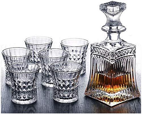 Decantadores Creative Whisky Cup Spirits Sistema de Bodega de Vino Copa de Vino Vidrio Cerveza de Vidrio vinos Juego de vinos 7 Piezas Creative Vintage Grabado