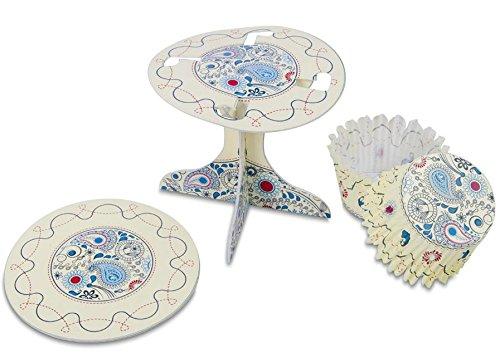 Staedtler Städter 336162 Muffin Kit de décoration Paisley, Carton/Papier, Blanc/Bleu/Rouge, 10 x 10 x 9 cm