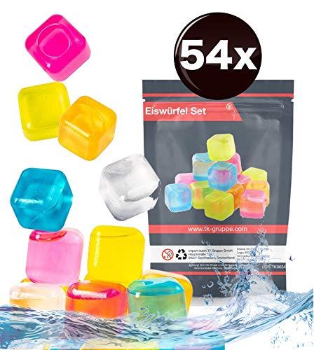 TK Gruppe Timo Klingler 54x wiederverwendbar & Bunte Eiswürfel - aus BPA freien Kunststoff - Plastik zum einfachen Kühlen von Drinks & Getränken