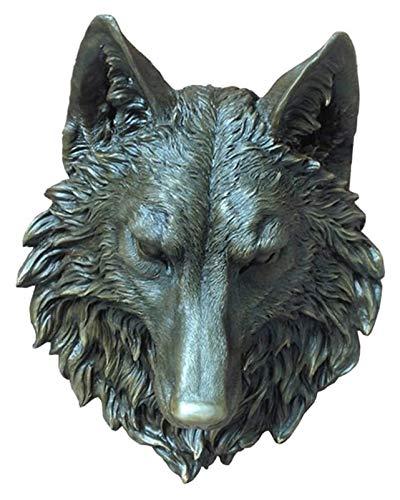 Escultura de escritorio Lobo cabeza escultura, lobo cabeza pared colgando trofeo escultura artesanía decoración bronce arte retro decoración animal accesorios