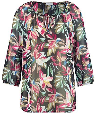 Gerry Weber Damen Tunika Mit Flowerprint Leger Schwarz/Lila/Pink Multicolor 46