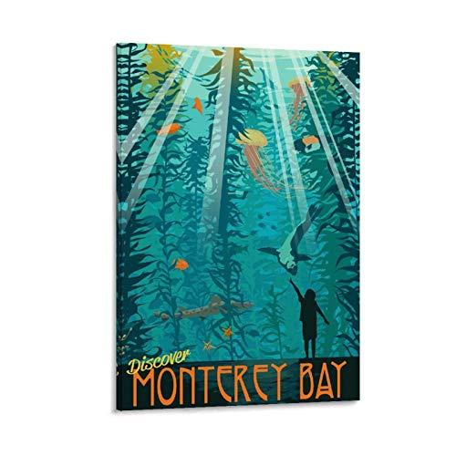 SDFZ Vintage-Poster Monterey Bay Aquarium, Leinwand, Kunstdruck, modernes Büro, Familie, Schlafzimmer, dekorative Poster, Geschenk, Wanddekoration, Gemälde, Poster, 60 x 90 cm