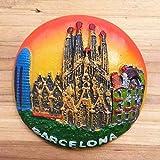 3d, polirresina Barcelona España turístico recuerdo, resina imán para nevera Creative Home cocina decoración promoción regalo