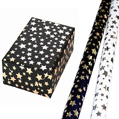 Geschenkpapier Weihnachten Set 2 Rollen (75 x 150 cm), Sterne-Design auf hochglänzendem Metallic-Papier mit mattweißem Fond, goldenes Metallic-Sterne-Design auf schwarzem Hintergrund.
