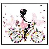 YHZSML Butterfly Girl HD Poster and Print Square Shape Color Rojo Black Girl Modern Wall Art Pictures para habitación de bebé Decoración de la habitación de la Cama 50x50cm