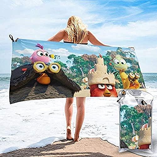 QWAS Toalla de playa Angry Birds con diseño de pájaros y cerdos, resistente a la arena, absorbente, (A06,80 cm x 130 cm)