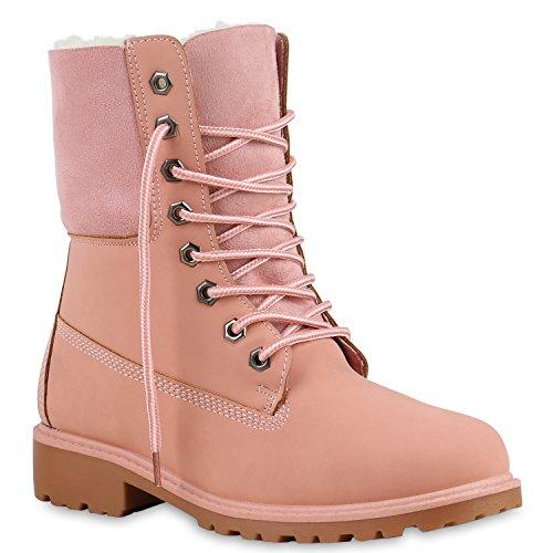 Warm Gefütterte Stiefeletten Damen Worker Boots Outdoor Schnürer Camouflage Booties Stiefel Winter Übergrößen Schuhe 125735 Rosa 38 Flandell