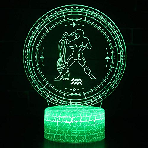 3D Optische illusie LED nachtlampje lamp illusie 12 constellatieserie Aquarius 7 kleurverandering raak kleur touch tafellamp slaapkamer lamp voor kinderen kerstcadeau